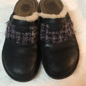 UGG black leather clogs mules. 8